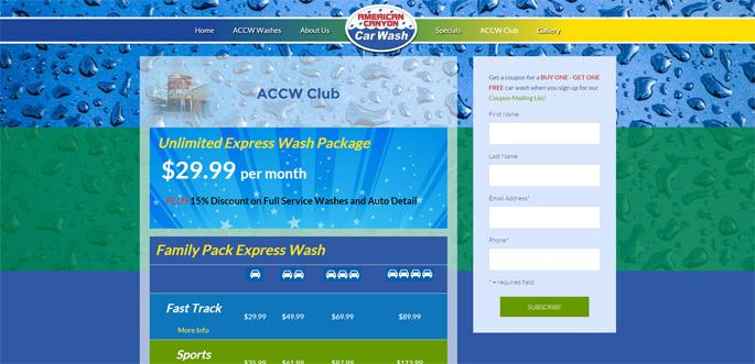 car wash web design